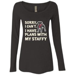I Have Plans Staffordshire Bull Terrier Ladies' Scoop Neck Long Sleeve Shirt