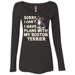 I Have Plans Boston Terrier Ladies' Scoop Neck Long Sleeve Shirt