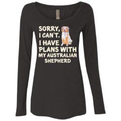 I Have Plans Australian Shepherd Ladies' Scoop Neck Long Sleeve Shirt