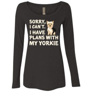 I Have Plans Yorkie Fitted Scoop Neck Long Sleeve
