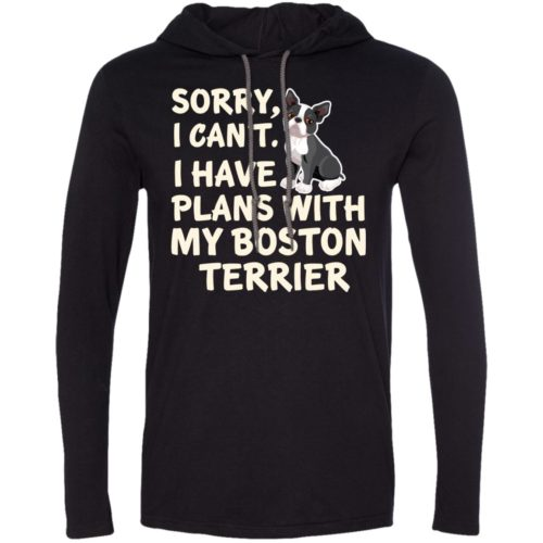 I Have Plans Boston Terrier Lightweight T-Shirt Hoodie