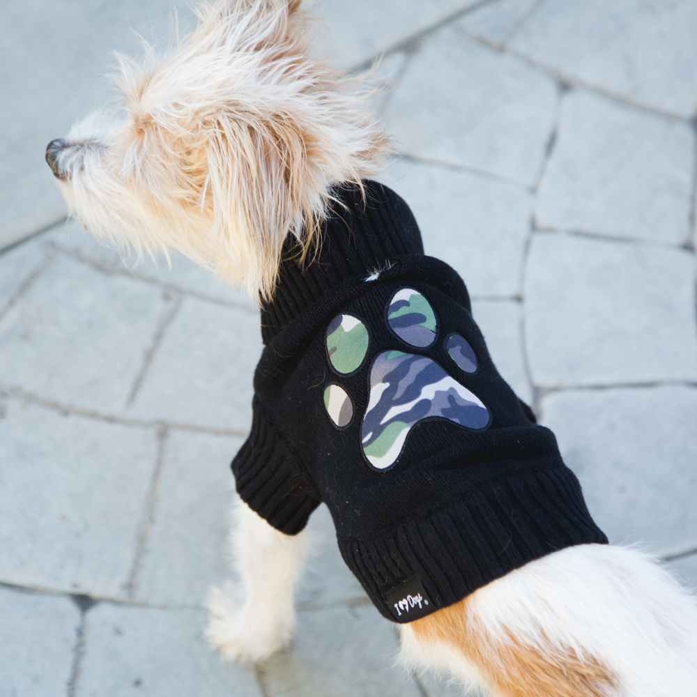Image of Cozy Camo Paw Black Doggy Sweater