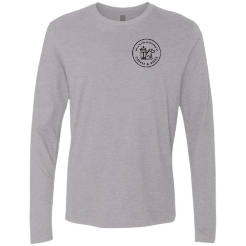 Sponsored By Coffee & Dogs Black Premium Long Sleeve Tee