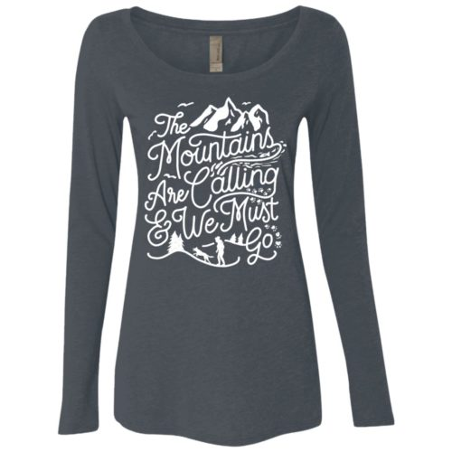 The Mountains Are Calling Fitted Scoop Neck Long Sleeve