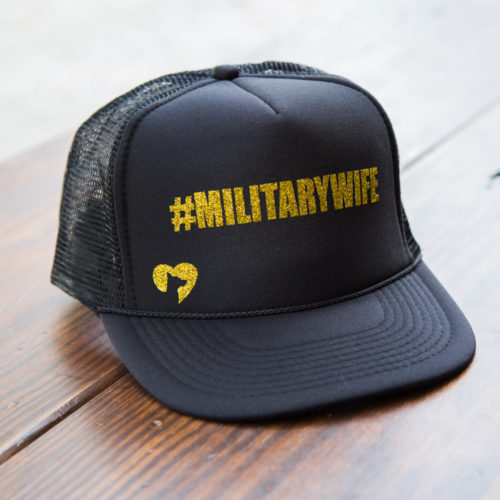 Military Wife Glitter Canvas Trucker Hat 🇺🇸 Deal 70% Off!