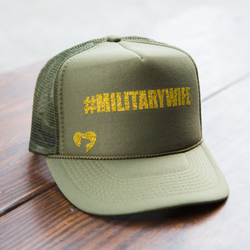 Military Wife Glitter Canvas Trucker Hat