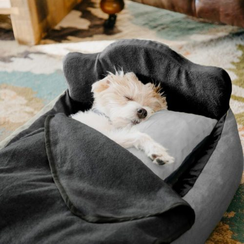 Paw Heart Mini Dog Bed Set - Light Grey/Black