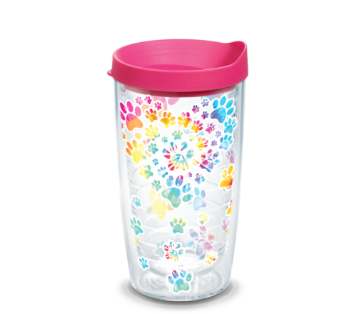 Heart Paw Tie Dye Tervis Insulated 16oz BPA-Free Plastic Tumbler