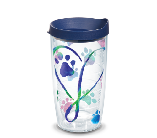 Elegant Heart Paw Tervis Insulated 16oz BPA-Free Plastic Tumbler