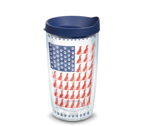 Red Dog Blue Paw Flag Tervis Insulated 16oz BPA-Free Plastic Tumbler