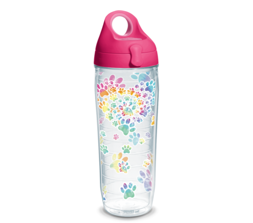 Heart Paw Tie Dye Tervis Insulated 24oz BPA-Free Plastic Water Bottle