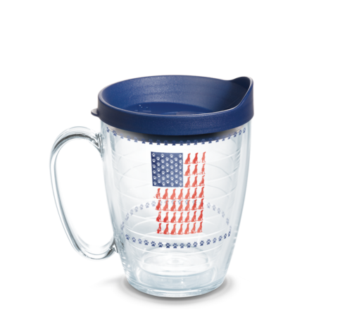 Red Dog Blue Paw Flag Tervis Insulated 16oz BPA-Free Plastic Mug