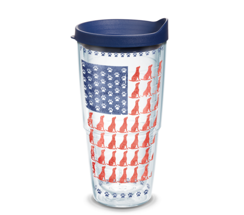 Red Dog Blue Paw Flag Tervis Insulated 24oz BPA-Free Plastic Tumbler