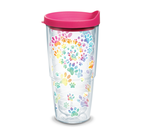 Heart Paw Tie Dye Tervis Insulated 24oz BPA-Free Plastic Tumbler