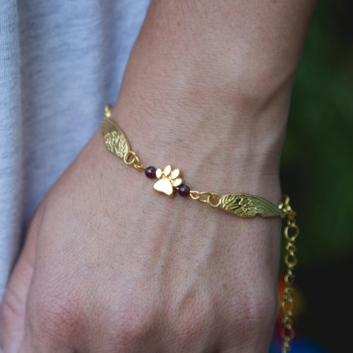 Second Chance Movement™ Gold Double Wings Paw Charm Bracelet
