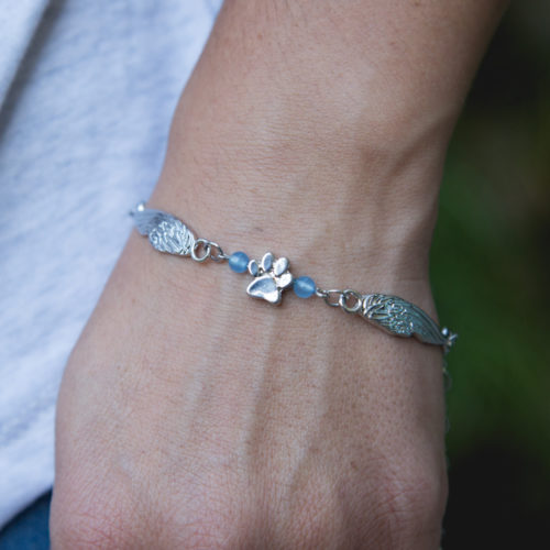 Second Chance Movement™ Silver Double Wings Paw Charm Bracelet