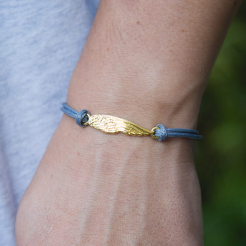 Second Chance Movement™ Light Blue Wax Cord Gold Wing Charm Bracelet