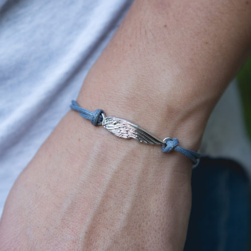 Second Chance Movement™ Light Blue Wax Cord Silver Wing Charm Bracelet