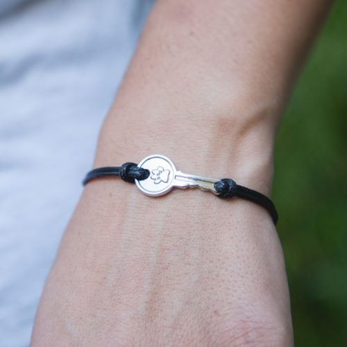 Second Chance Movement™ Black Wax Cord Silver Key Charm Bracelet