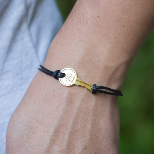 Second Chance Movement™ Black Wax Cord Gold Key Charm Bracelet