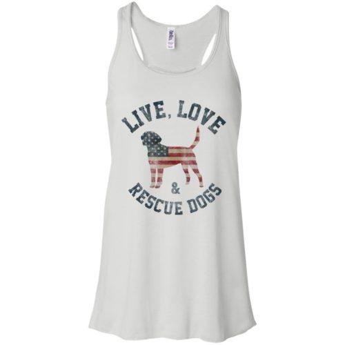 Live, Love, Rescue Dogs Flowy Tank