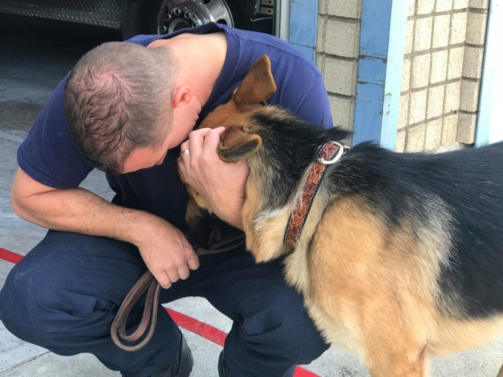 Utah Firefighter Gives Home To Dog Rescued From California Wildfire