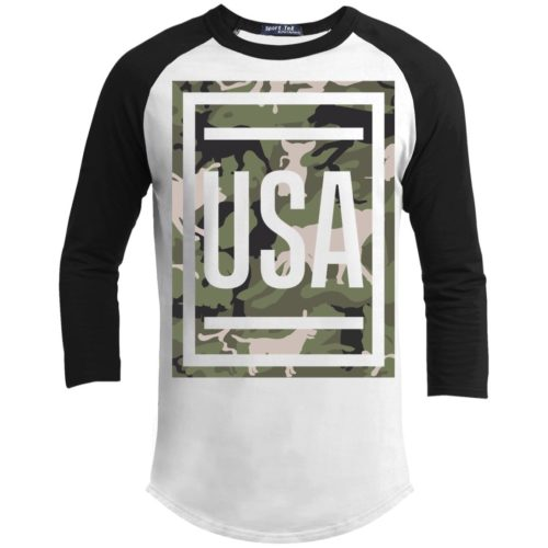 Green Dog Camo USA 3/4 Sleeve Baseball Shirt