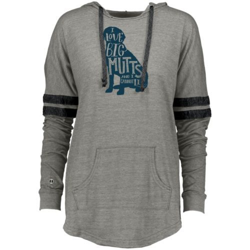 I Love Big Mutts Varsity Slouchy Hoodie