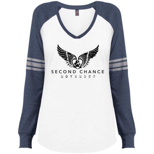 Second Chance Movement Varsity V-Neck Long Sleeve Shirt