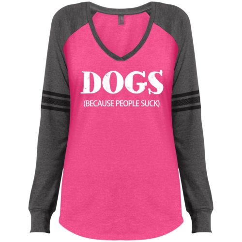 Dogs Because People Suck Distressed Varsity V-Neck Long Sleeve