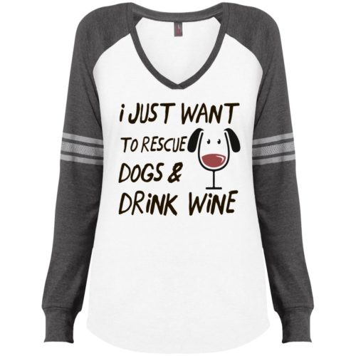 Rescue Dogs & Drink Wine Varsity V-Neck Long Sleeve Shirt