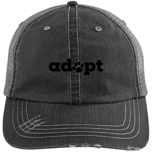 Adopt Paw Embroidered Distressed Trucker Hat