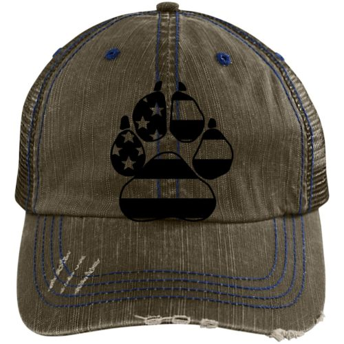 Flag Paw Embroidered Distressed Trucker Hat