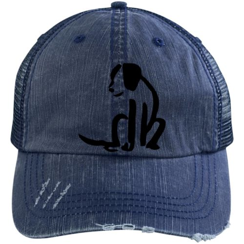 Dog Sketch Embroidered Distressed Trucker Hat