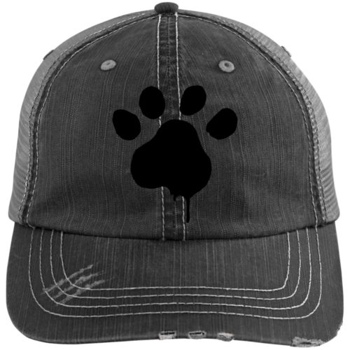 Paint Paw Embroidered Distressed Trucker Hat