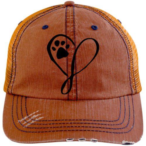 Elegant Heart Embroidered Distressed Trucker Hat