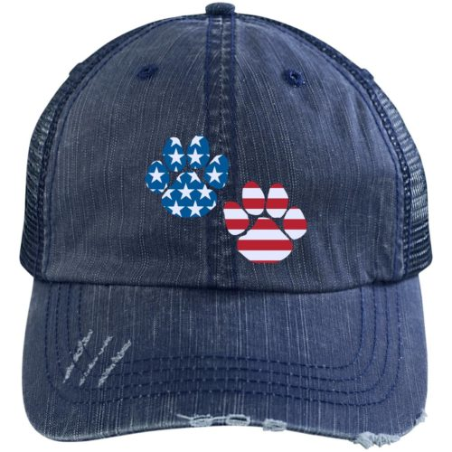 Flag Paws USA Embroidered Distressed Trucker Hat