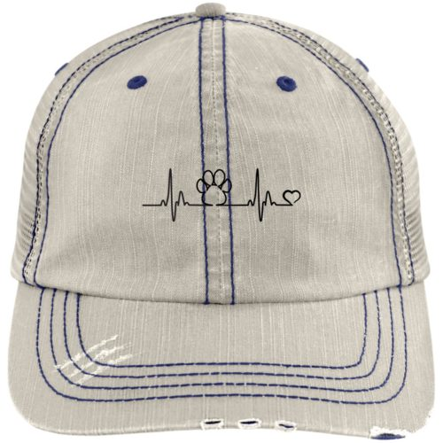 Heartbeat Paw Embroidered Distressed Trucker Hat