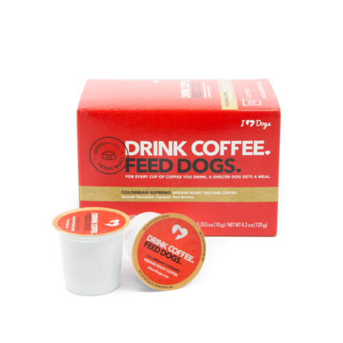 """Drink Coffee. Feed Dogs."" Colombian Supremo Coffee 12-Pack K-Cups"
