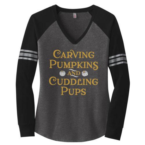 Carving Pumpkins & Cuddling Pups Varsity V-Neck Long Sleeve Shirt