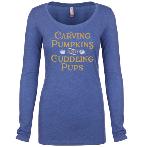 Carving Pumpkins & Cuddling Pups Scoop Neck Long Sleeve