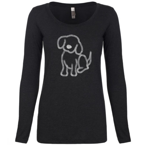 Pup Sketch Scoop Neck Long Sleeve