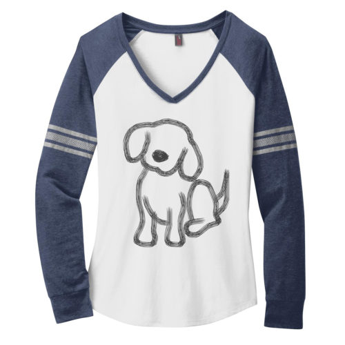 Pup Sketch Varsity V-Neck Long Sleeve Shirt