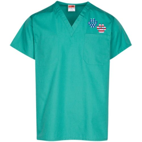 Flag Paws USA Embroidered Scrub Top