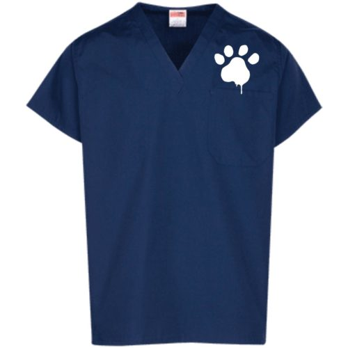 Watercolor Paw Embroidered Scrub Top