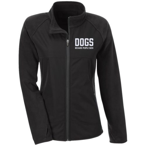 Dogs Because People Suck Embroidered Fitted Microfleece Jackets
