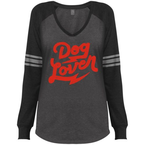 Dog Lover Varsity V-Neck Long Sleeve Shirt