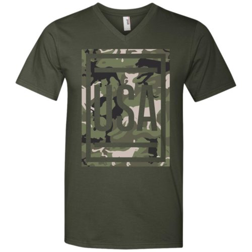 Green Dog Camo USA Men's V-Neck
