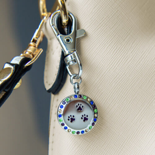 I Love Paws & Rhinestones Keychain & Purse Accessory