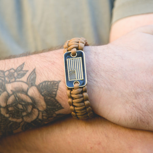 Coyote Brown Paracord Bronze Flag Bracelet: Helps Pair Veterans with a Service Dog or Shelter Dog